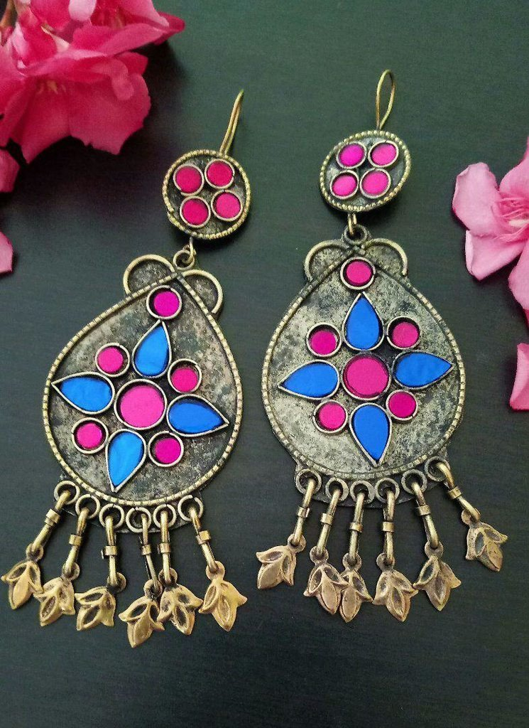 Afghani Trible Light Blue & Pink Color Earring