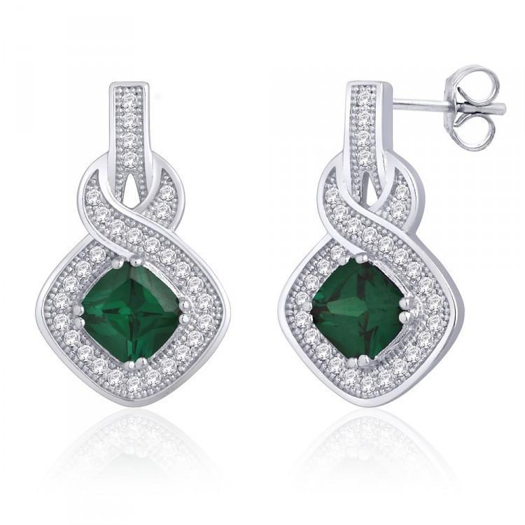 Green Loop Earrings For Party Wear