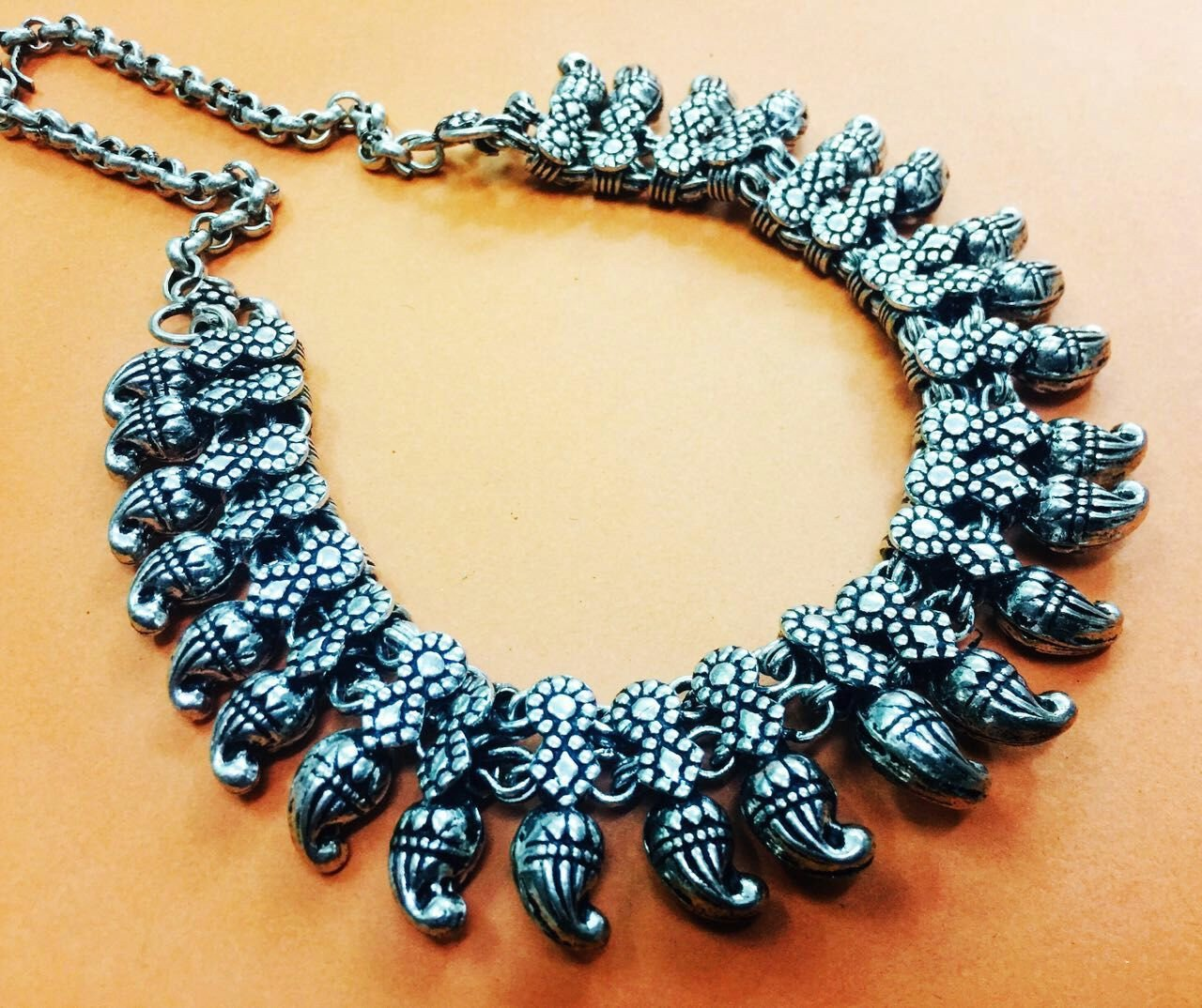 Oxidized German Silver Kolhapur Necklace