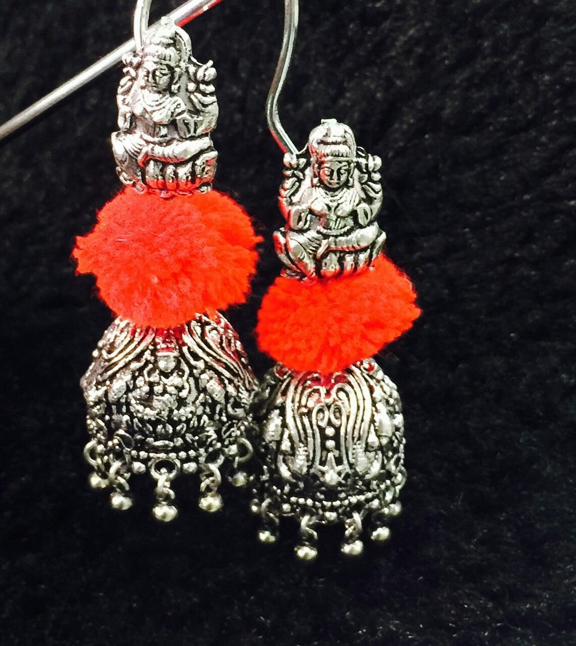 Oxidized German Silver Jhumka With Pom Pom