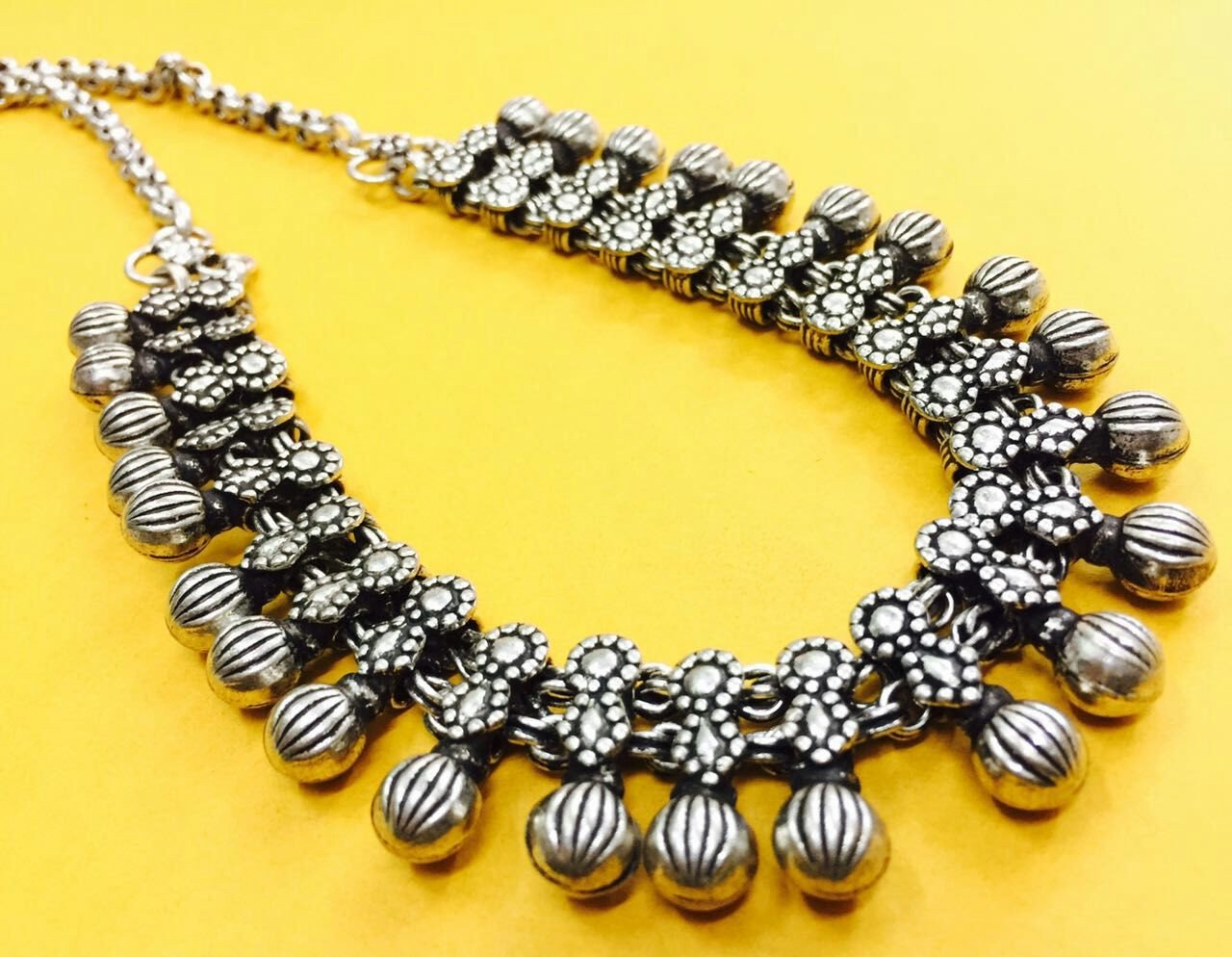 Oxidised German Silver Kolhapur Necklace