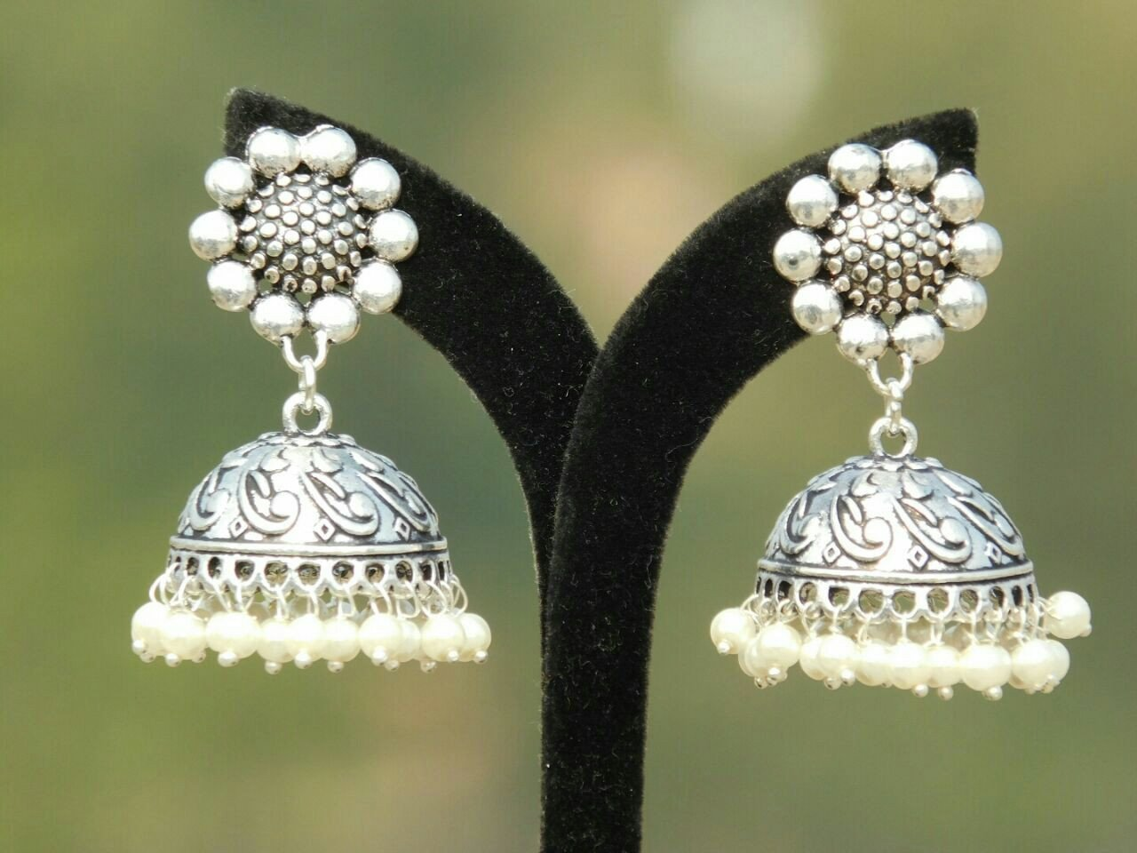 Oxidised German Silver Earrings