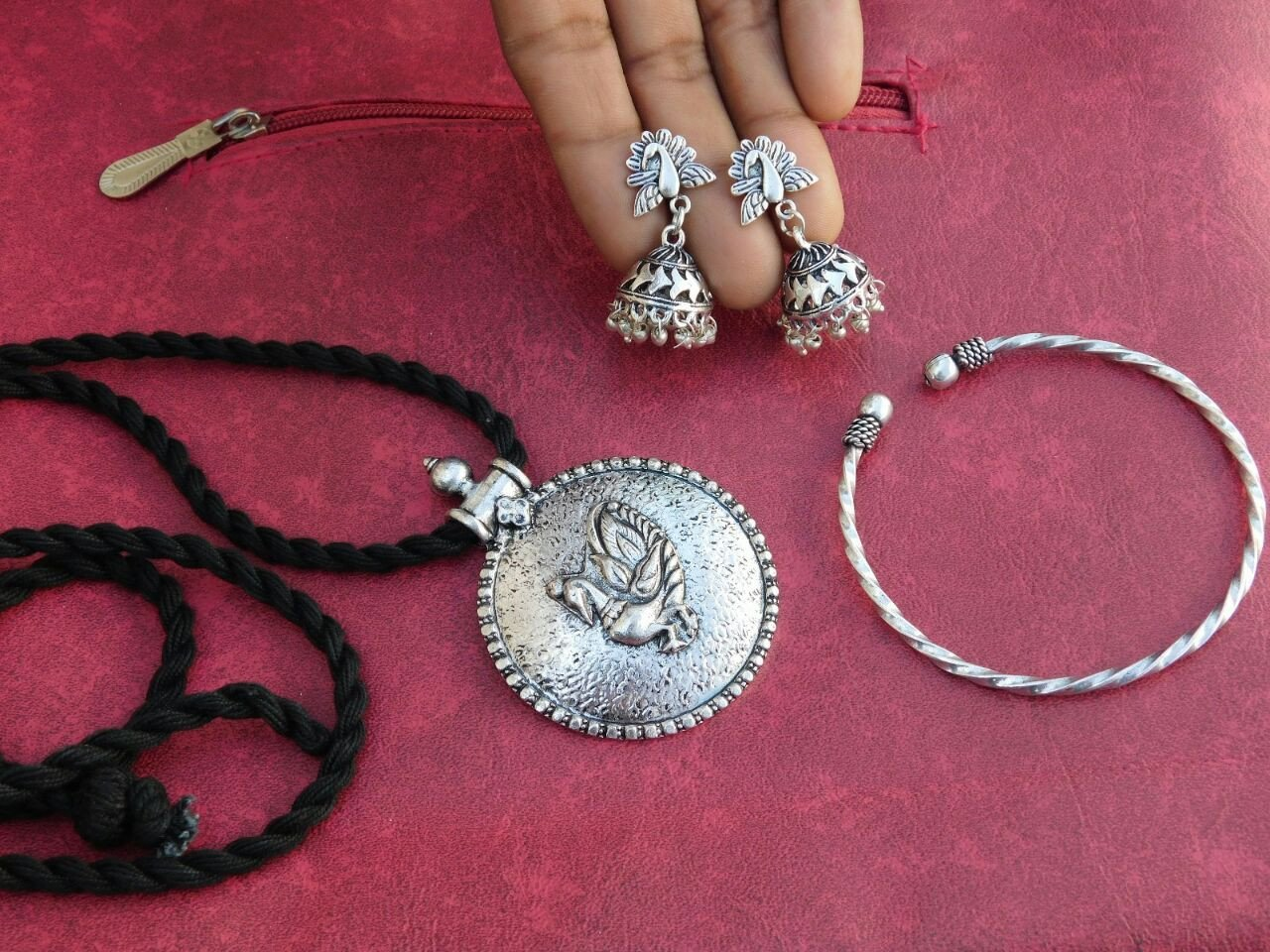 Combo Set Of Silver Pendant With Earring And Single Kada