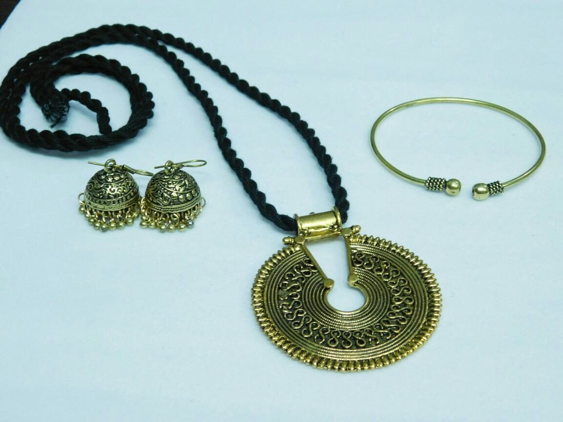 Combo Set Of Gold Pendant With Earring And Single Kada