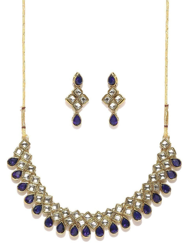 Zaveri Pearls Cubical Style Kundan Necklace Set