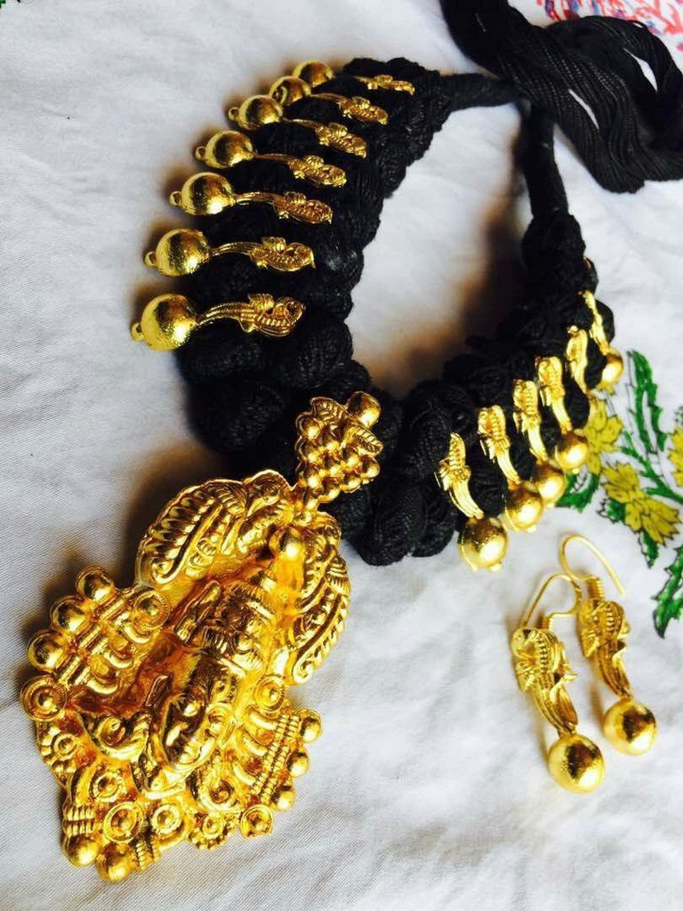 Oxidised Gold Durgama Design Temple Necklace Set With Black Dori