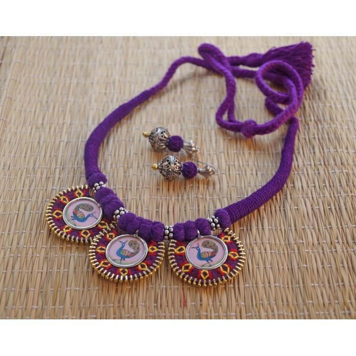Purple Ajustable Hand Embroidered Choker Necklace