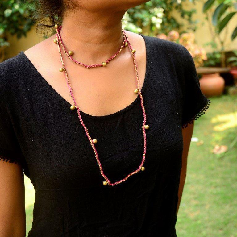 Dhokra Necklace Pink Long