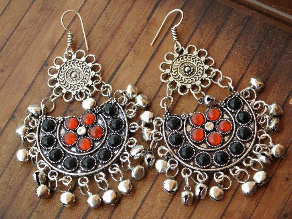 German Silver Afghani Tribal Red & Black Earring With Hanging Beads