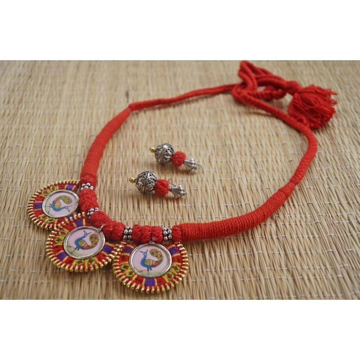 Red Ajustable Hand Embroidered Choker