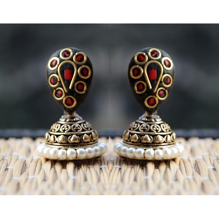 Red Black Golden Jhumki Earring