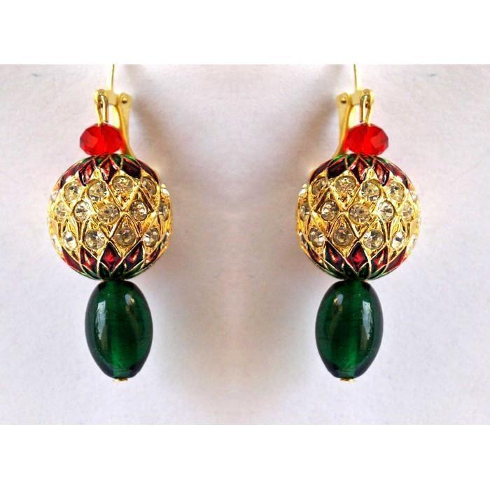 Red Green Meenakari Dazzle Earring