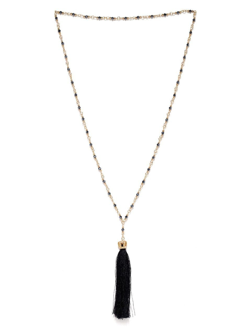 Gold Beaded Tassel Necklace