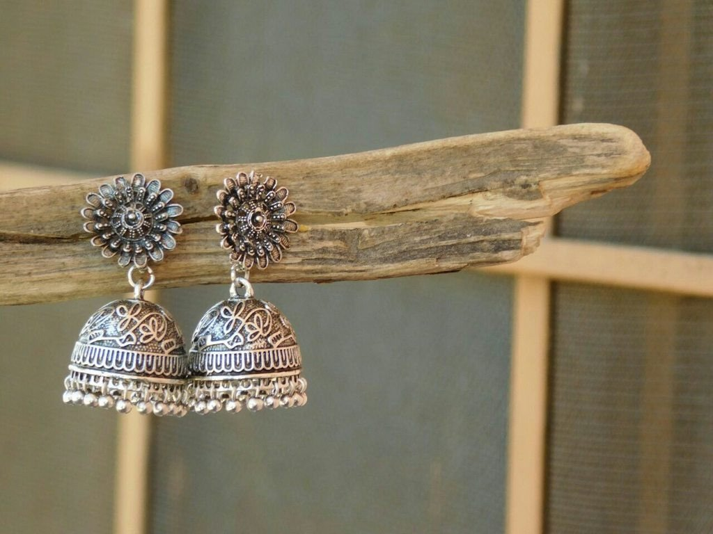 Oxidised German Silver Flower Design Earring