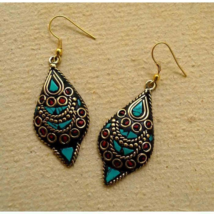 Sea Green Laakh Dangler Earring