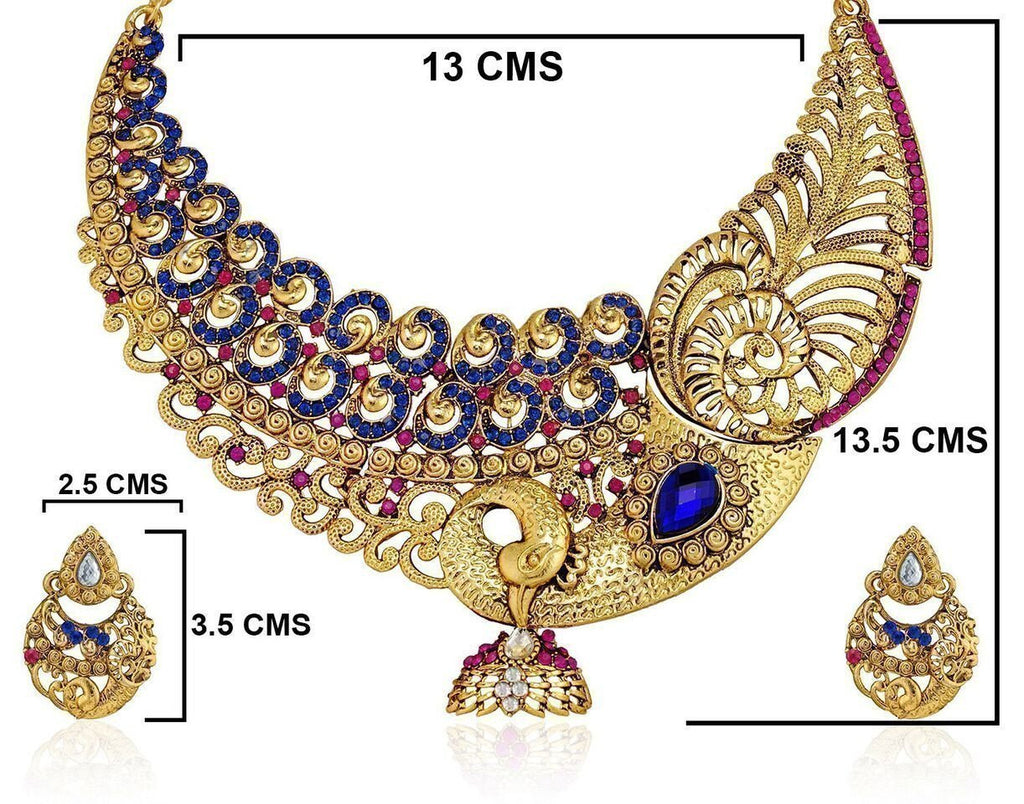 Zaveri Pearls Peacock Glory Necklace Set