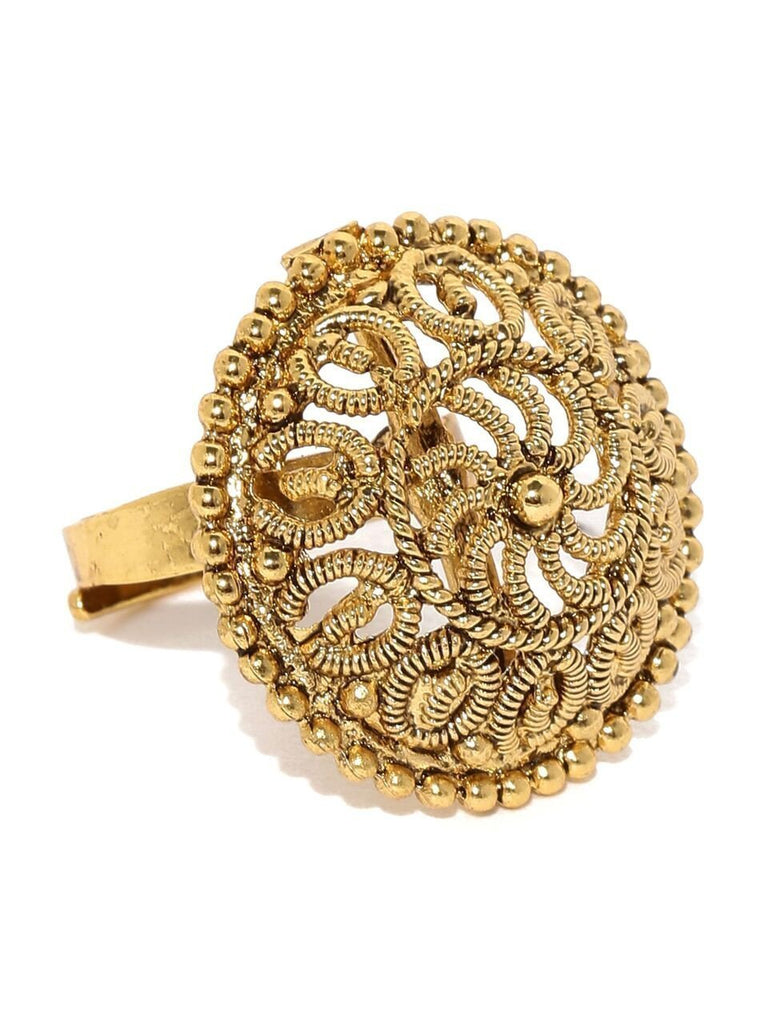 Limited Edition Real Gold Filigree Ethnic Finger Ring By Zaveri Pearls