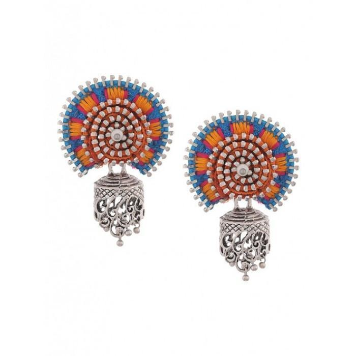 Designer Jodha Earring Turquoise Orange