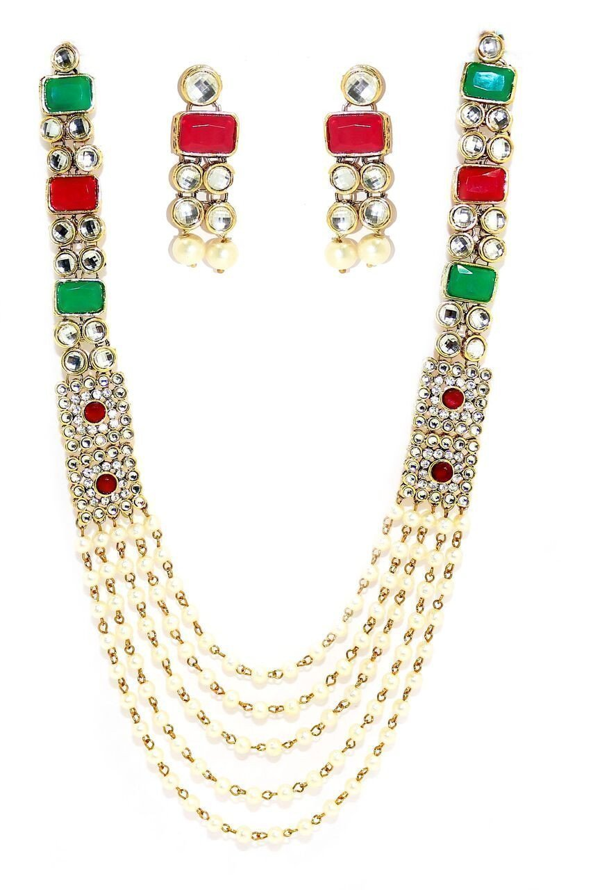 Zaveri Pearls Long Five Layer Kundan & Pearl Bead Necklace Set