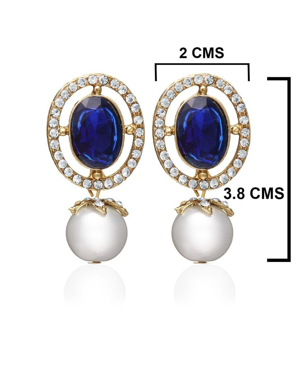 Zaveri Pearls Blue Stone With Pearl Drop Earring
