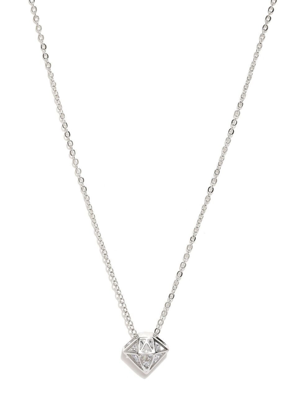 Silver Diamond Shaped Charm Necklace