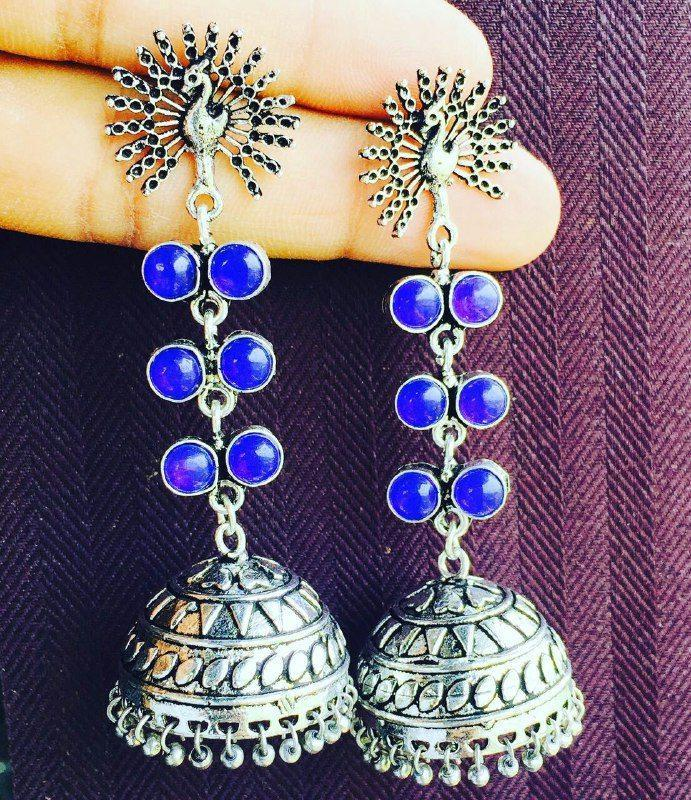 Oxidised German Silver Long Jhumka with Stones