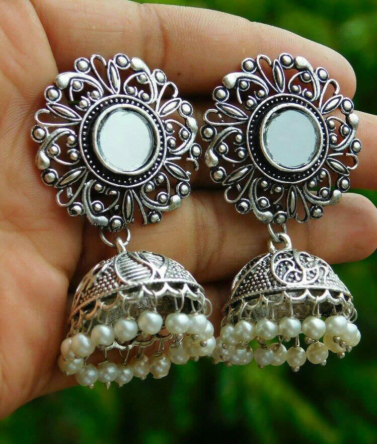Oxidised German Silver Mirror Jhumka Earring With White Droppings