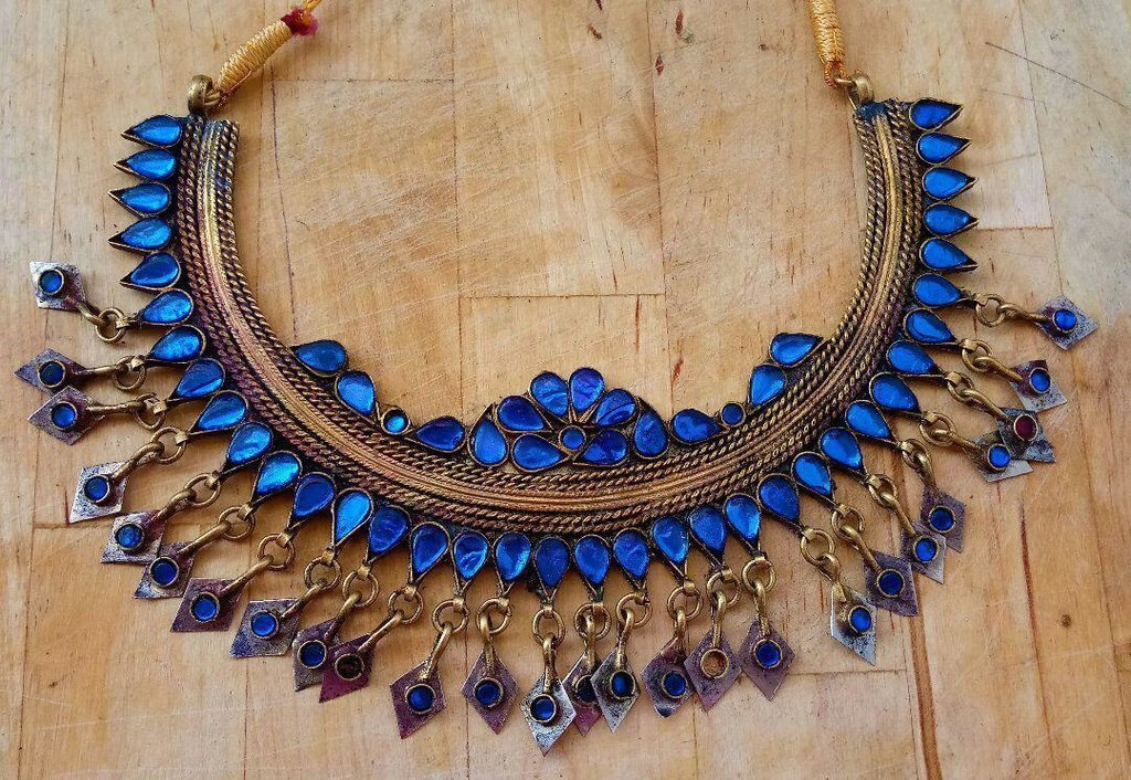 Afghani Trible Dark Blue Color Choker Necklace