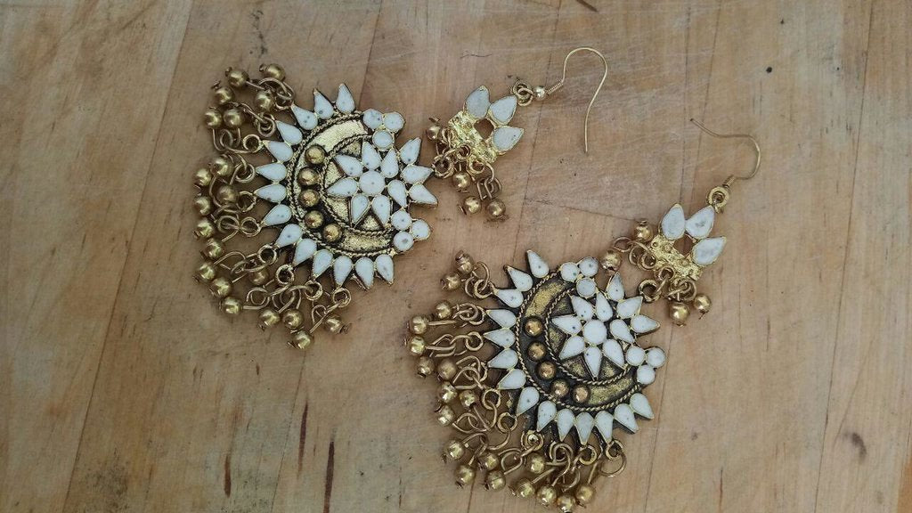 Oxidised German Silver Chandbali White Color Earring