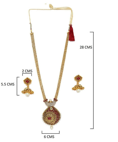 Zaveri Pearls Antique Gold Look Necklace With Jhumki Earring