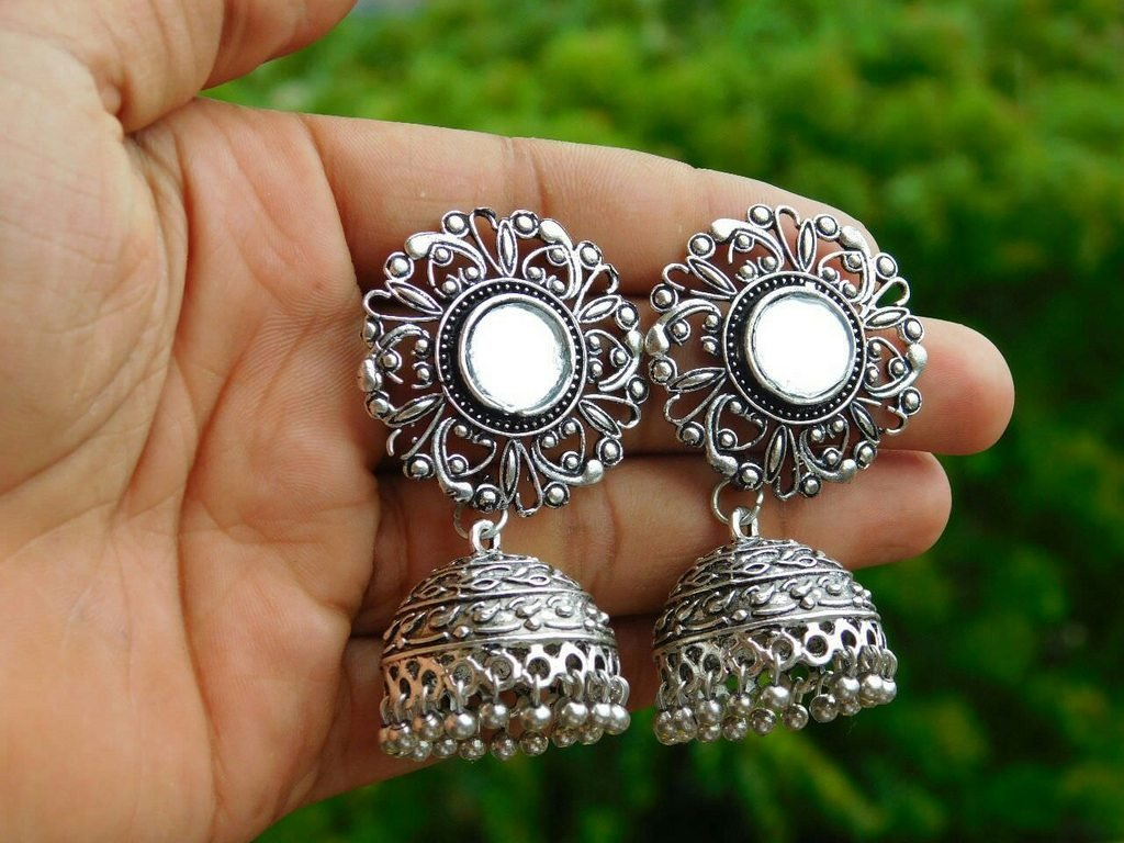Oxidised German Silver Mirror Jhumka Earring With Silver Droppings