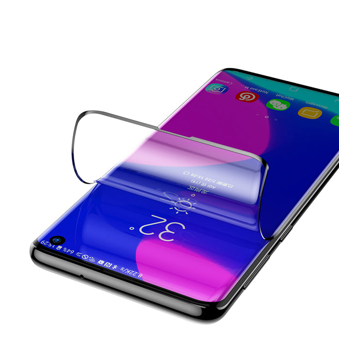 2 Packs Baseus Support Ultrasonic Fingerprint Screen Protector For Samsung Galaxy S10/S10 Plus Soft Curved Edge PET Film