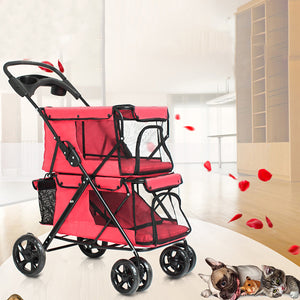Pet Stroller 4 Wheel Folding Cat Dog Breathable Carrier Travel Camping Portable Pet Cart