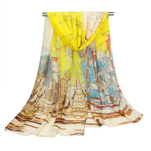 Women's Georgette Silk Soft Scarves Shawl High Quality Oil Painting Print Long Scarf