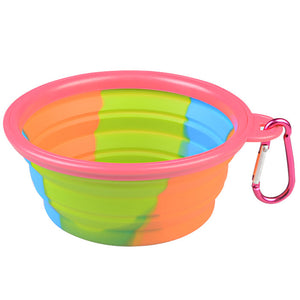Folding Silicone Pet Bowl Portable Dog Food Drinking Water Feeding Supplies Outdoor Bowl