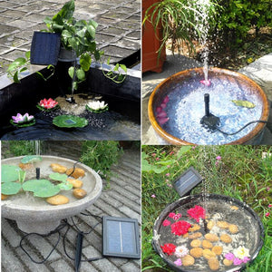 Water Garden Patio 1.2W Solar Panel Pool Bird Bath Fountain Water Pump with 4 Nozzles