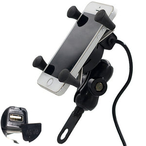 12V-30V 3.5-6 inch Motorcycle Phone GPS Holder X-Style USB Charger Power Outlet Socket
