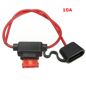 Waterproof Fuse Holder Socket Blade Type In Line 6-32V with 10/15/20/30A Replacement Fuses