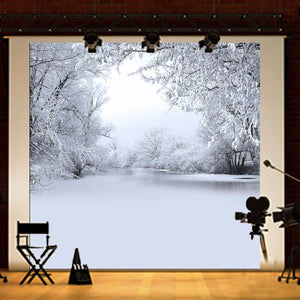 8x8FT Winter Lonely Forest Photography Backdrop Background Studio Prop