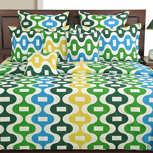 Canopus Wavy Multi Colour Bed Linen Set