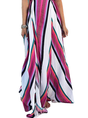 Bohemian Sleeveless Strap Stripe Swing Long Maxi Dress