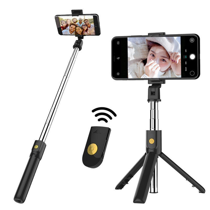 Extended Multi-angle bluetooth Remote Tripod Selfie Stick for Iphone X XR Plus (Black)