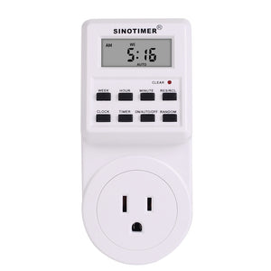 SINOTIMER 2 In 1 Kitchen Timer Switch Socket 7-day Cycle Programmable Digital Display Relay Time Adator Timer Clock Calculator Outlet