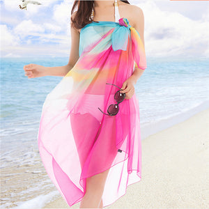 Women Ladies Summer Beach Towel Chiffon Oversized Scarf Sunscreen Towel Shawl Scarves