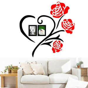 50x50/80x80cm 3D Roses Acrylic Wall Sticker Vinyl Art Decor Living Room Home Decal
