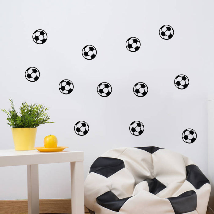 Honana 12PCS/Set Sports Wall Sticker Boys Bedroom  Art Personalized Football Soccer Ball Wall Sticker For Kids Rooms Decor