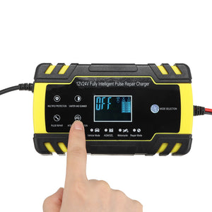 Enusic™12/24V 8A/4A Touch Screen Pulse Repair LCD Battery Charger For Car Motorcycle Lead Acid Battery Agm Gel Wet