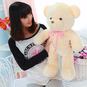 50CM Colorful Creative Glow LED Light Plush Bear Cushion Stuffed Doll Throw Pillow Toy For Friends Family Gift