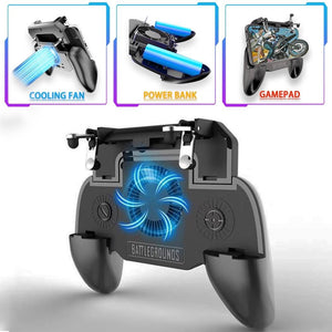 SR Scalable Gamepad Game Controller Joystick Cooling Fans Charger for PUBG for 4.7-6.5inch Mobile Phone