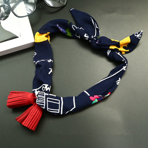 Women Pendants All-Match Small Scarf Chiffon Sat Korean style Tassel Decoration Necklace Scarves